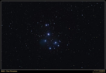 M45 - The Pleiades, December 1, 2005
