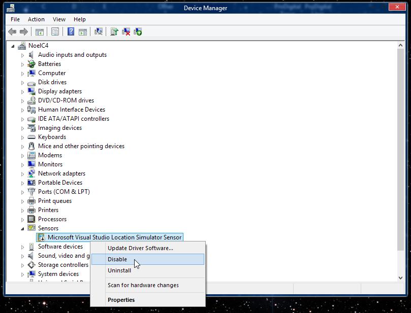 Microsoft Visual Studio Location Simulator Sensor Driver Windows 10