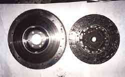 [Old Flywheel And Centerforce Dual Friction Clutch Disk; Click to See a Larger Image]